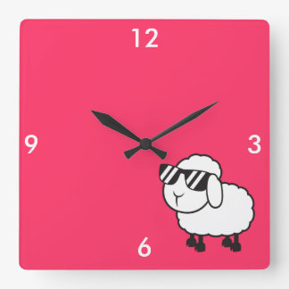 White Sheep in Sunglasses Cartoon Square Wall Clock