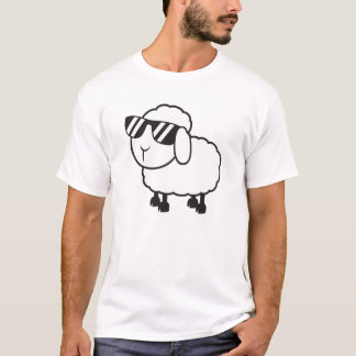 White Sheep in Sunglasses Cartoon T-Shirt