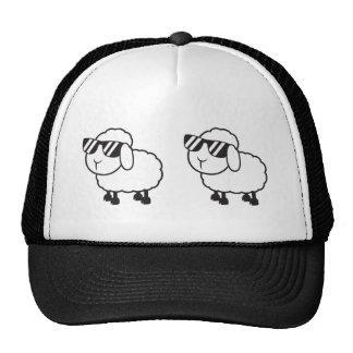 White Sheep in Sunglasses Cartoon Trucker Hat