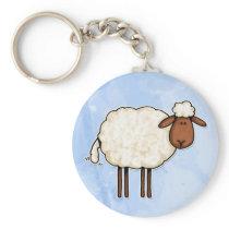 white sheep keychain