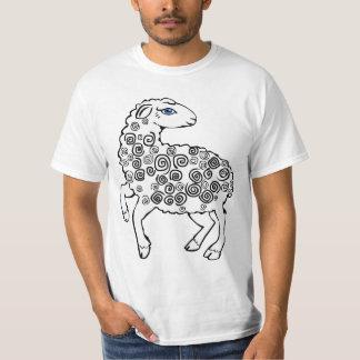 White Sheep Spiral Curls Folk Art Style T-Shirt