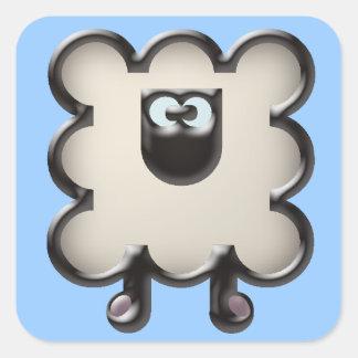 white sheep square sticker