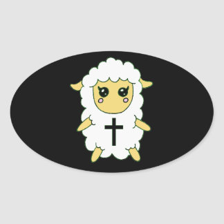 White Sheep with Cross Oval Sticker