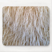 White Sheepskin Fur Design Mouse Pad