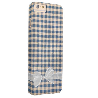 white sheer bow on denim gingham barely there iPhone 6 plus case
