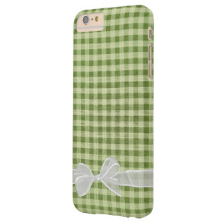 white sheer bow on green gingham barely there iPhone 6 plus case
