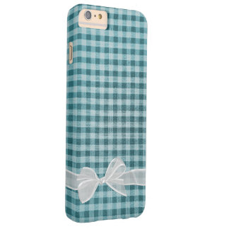white sheer bow on turquoise gingham barely there iPhone 6 plus case