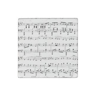 White Sheet Music Stone Magnet