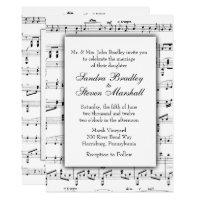 White Sheet Music Theme Wedding Invitation
