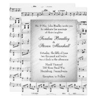 White Sheet Music Wedding Theme Invitation