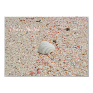 White Shell on Pink Sand Invitation
