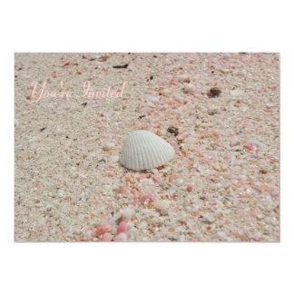 White Shell on Pink Sand Invitation