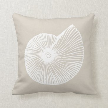 Beach Themed White Shell Throw Pillow