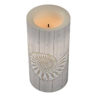 White Shell Wood Image LED Flameless Candle