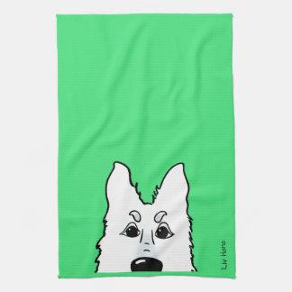 White shepherd dog head kitchen towel
