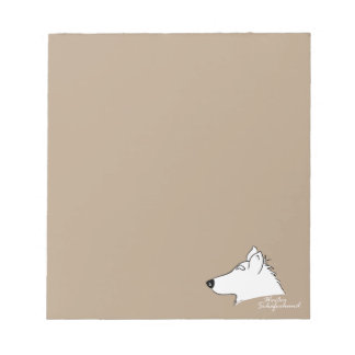 White shepherd dog head silhouette notepad