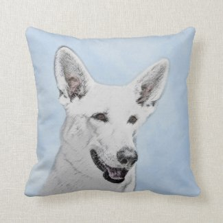White Shepherd Throw Pillow