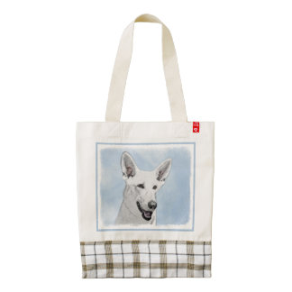White Shepherd Zazzle HEART Tote Bag