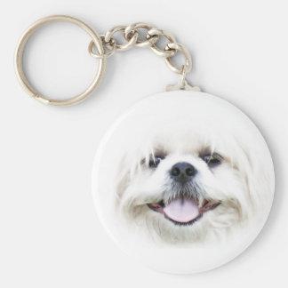 White shih tzu face keychain