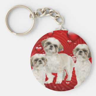White Shih Tzu Puppies with Hearts Keychain