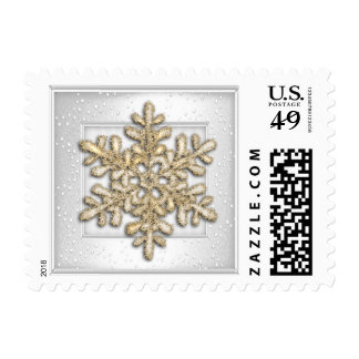 White Shimmer with Gold Snowflake Stamps