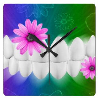 White Shiny Teeth Dentist Wall Clock