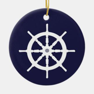 White ship's wheel. ceramic ornament