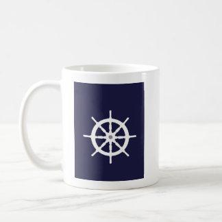 White ship's wheel. coffee mug