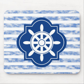 White Ships Wheel On Navy Blue Mouse Pad