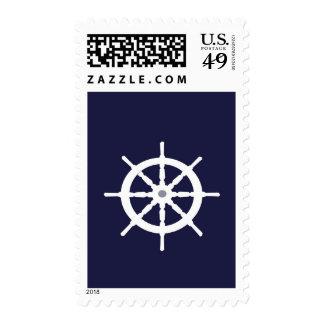 White ship's wheel. postage