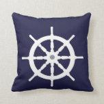 White ship's wheel. throw pillow