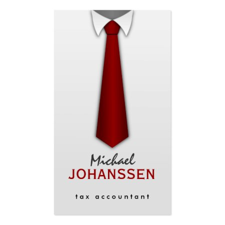 White Shirt Red Tie Pinstripe Accountant Business Cards Profilecards