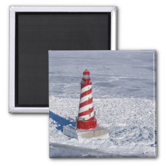 White Shoal Lighthouse 2 Inch Square Magnet