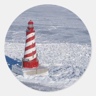 White Shoal Lighthouse Classic Round Sticker