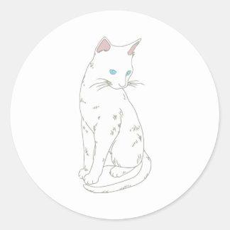 White Siamese Cat Classic Round Sticker