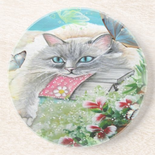 White Siamese Cat with Butterfly Coaster