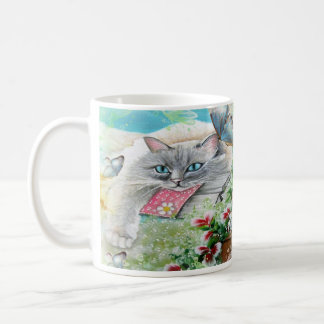 White Siamese Cat with Butterfly Coffee Mug