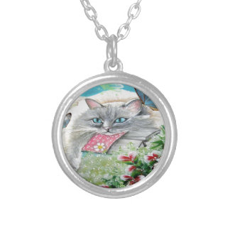 White Siamese Cat with Butterfly Custom Necklace