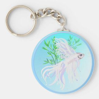 White Siamese Fighting Fish Keychains
