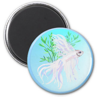 White Siamese Fighting Fish Magnets
