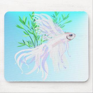 White Siamese Fighting Fish Mousepad