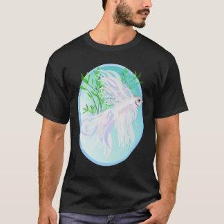 White Siamese Fighting Fish Oval Shirts