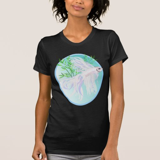 White Siamese Fighting Fish Oval Shirts