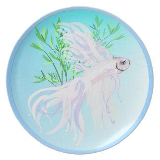 White Siamese Fighting Fish Plate