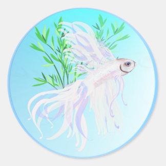 White Siamese Fighting Fish Stickers