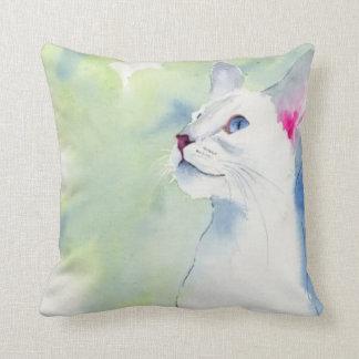 White Siamese Throw Pillow by American MoJo