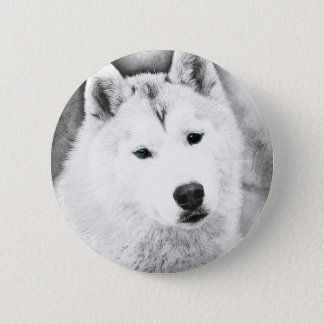 White Siberian Husky w/ Blue Eyes Fine Art Sketch Button