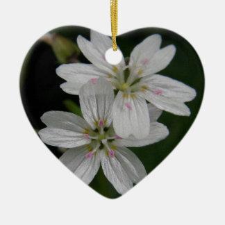 White Siberian Spring Beauty Ceramic Ornament