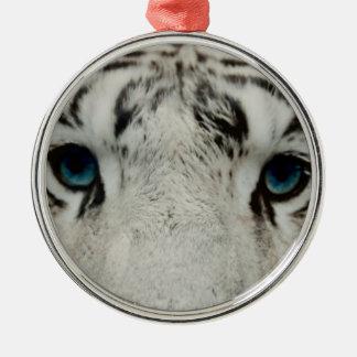 White Siberian Tiger Metal Ornament