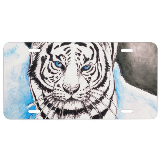 White Siberian Tiger Sow License Plate
